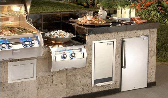 Built-in gas grill and island system